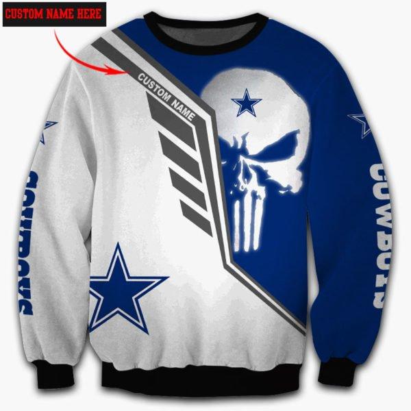 Personalized skull dallas cowboys full over print sweatshirt
