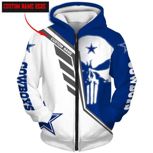 Personalized skull dallas cowboys full over print zip hoodie
