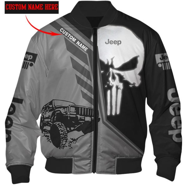 Personalized skull jeep full over printed bomber
