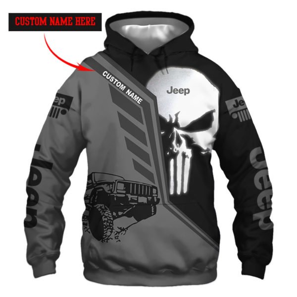 Personalized skull jeep full over printed hoodie