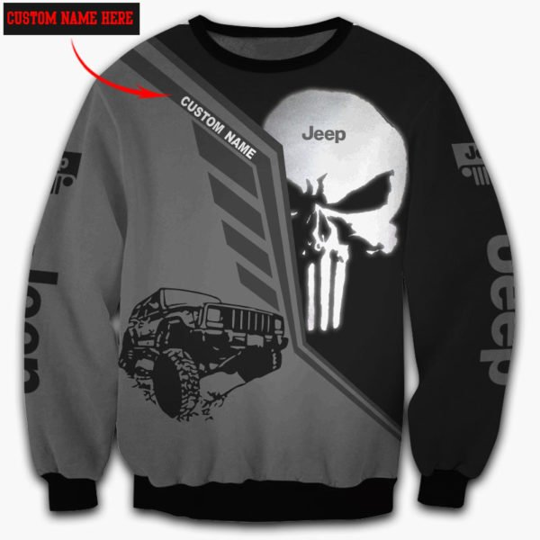 Personalized skull jeep full over printed sweatshirt