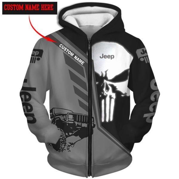 Personalized skull jeep full over printed zip hoodie