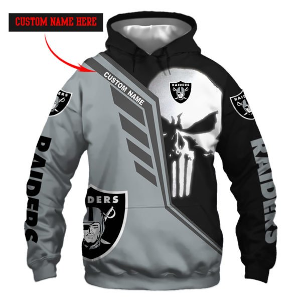 Personalized skull oakland raiders full over print hoodie