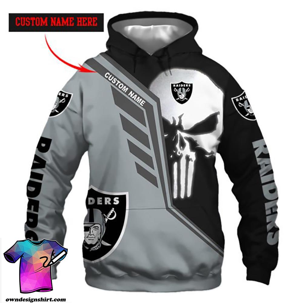 Personalized skull oakland raiders full over print shirt