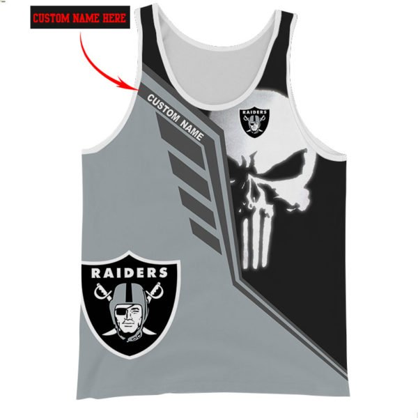 Personalized skull oakland raiders full over print tank top