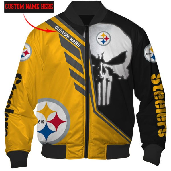 Personalized skull pittsburgh steelers full over print bomber