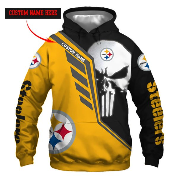 Personalized skull pittsburgh steelers full over print hoodie