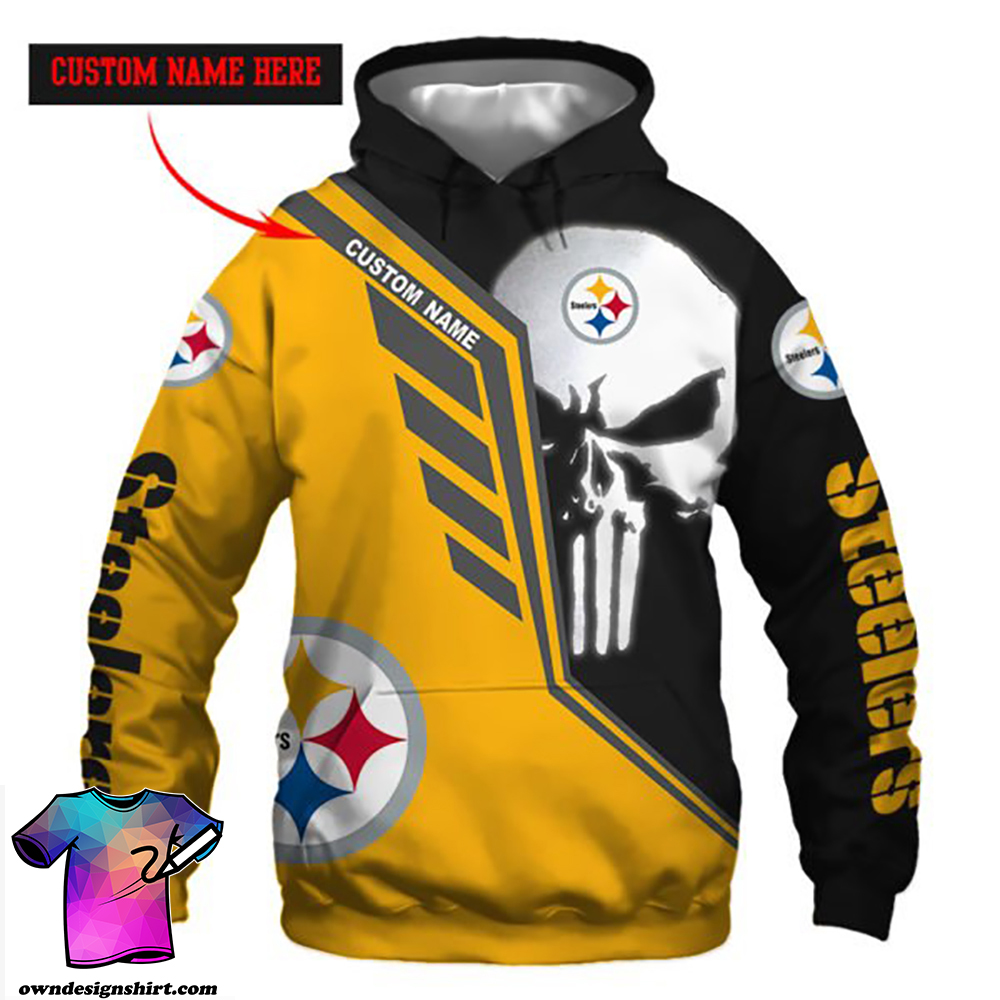 Personalized skull pittsburgh steelers full over print shirt