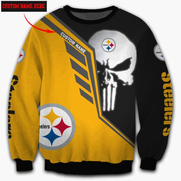 Personalized skull pittsburgh steelers full over print sweatshirt