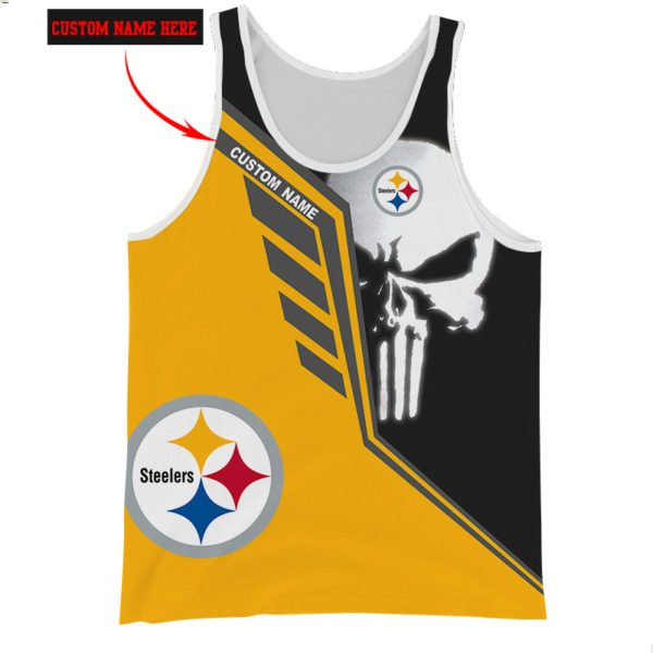 Personalized skull pittsburgh steelers full over print tank top