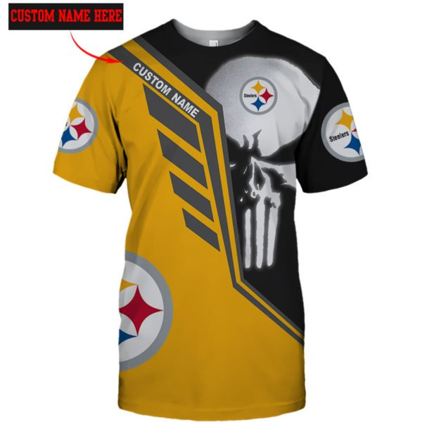 Personalized skull pittsburgh steelers full over print tshirt