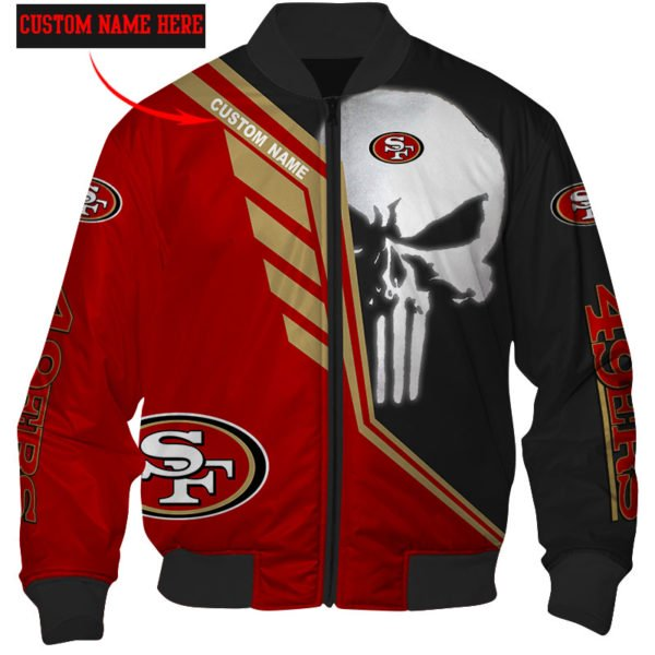 Personalized skull san francisco 49ers full over print bomber