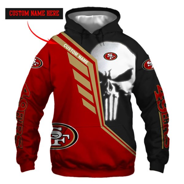 Personalized skull san francisco 49ers full over print hoodie