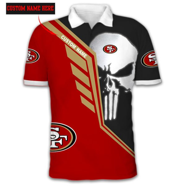 Personalized skull san francisco 49ers full over print polo