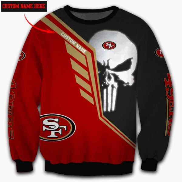 Personalized skull san francisco 49ers full over print sweatshirt