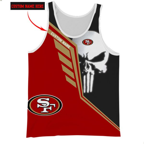 Personalized skull san francisco 49ers full over print tank top