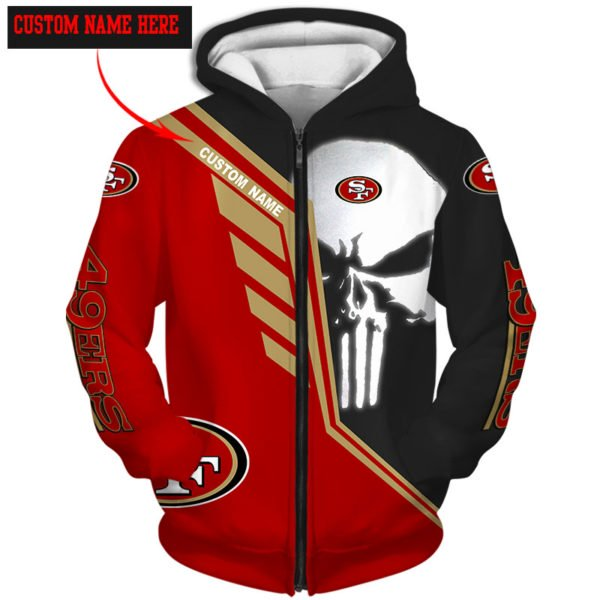 Personalized skull san francisco 49ers full over print zip hoodie