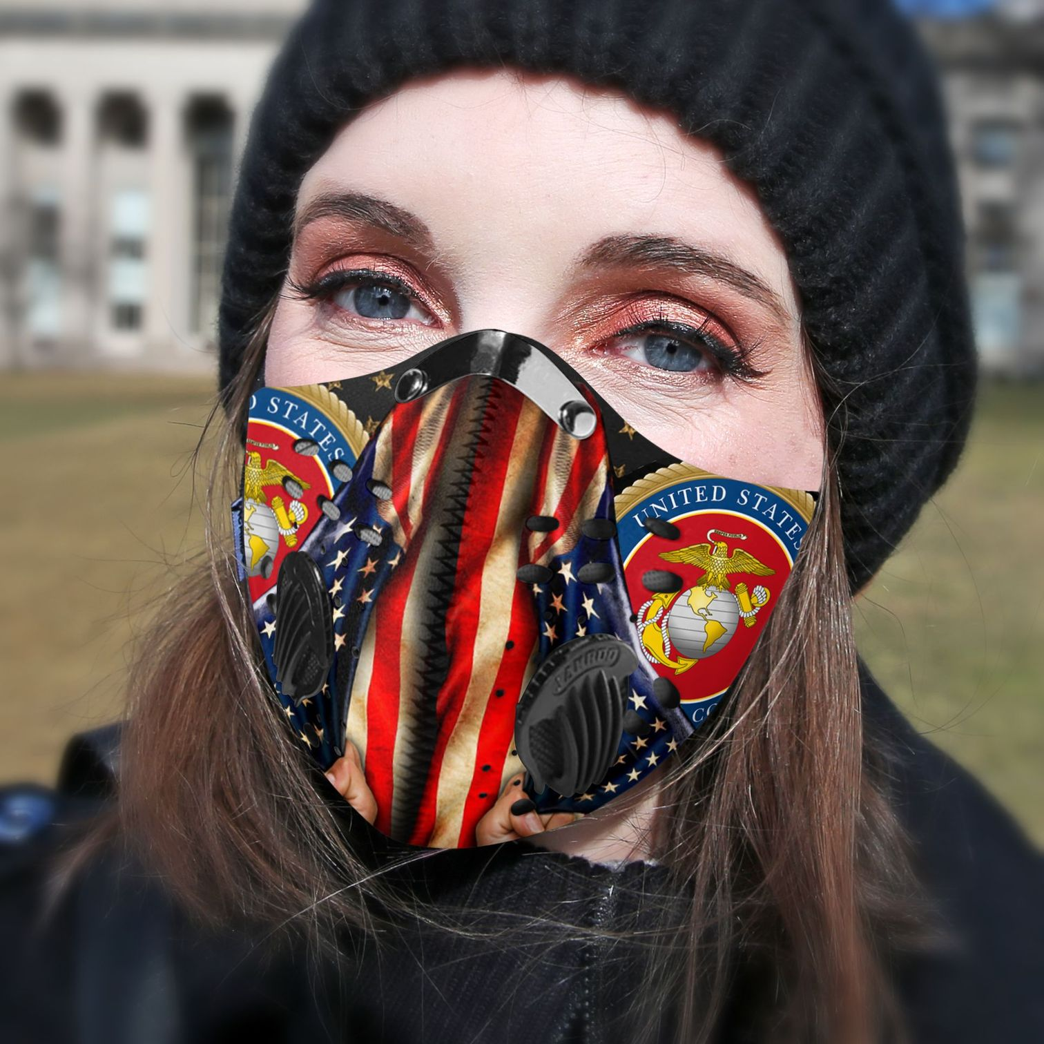 Proud marine corps carbon pm 2,5 face mask 3