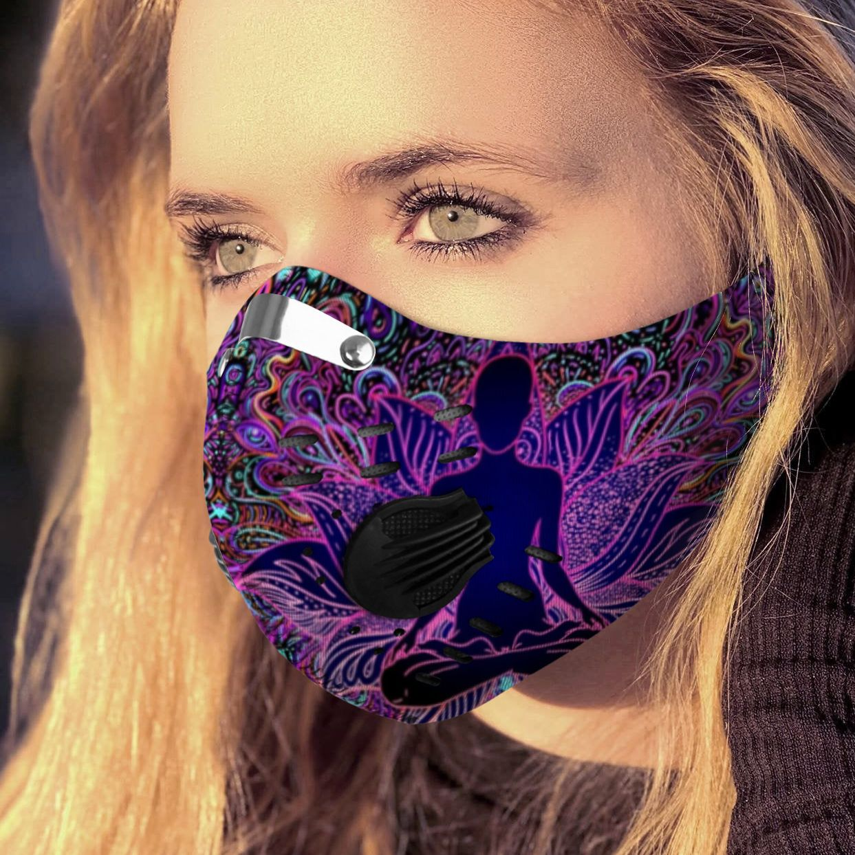 Psychedelic lotus yoga carbon pm 2,5 face mask 1