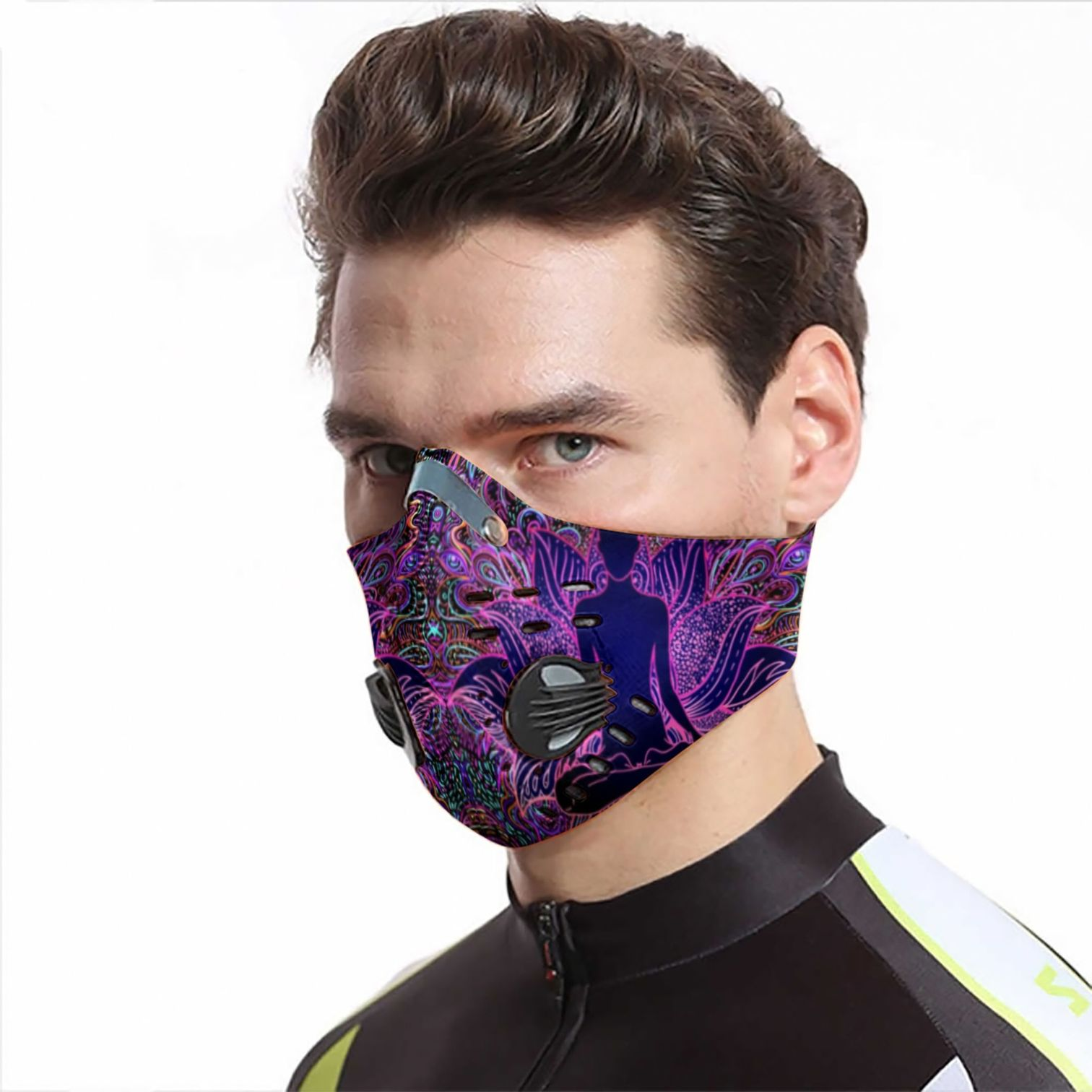 Psychedelic lotus yoga carbon pm 2,5 face mask 3