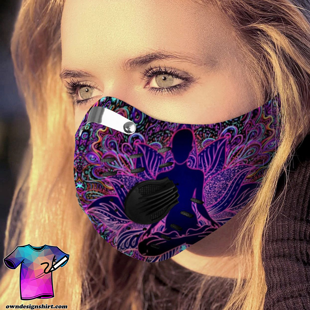 Psychedelic lotus yoga carbon pm 2,5 face mask