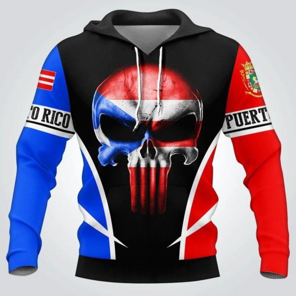 Puerto rico flag skull full over print hoodie