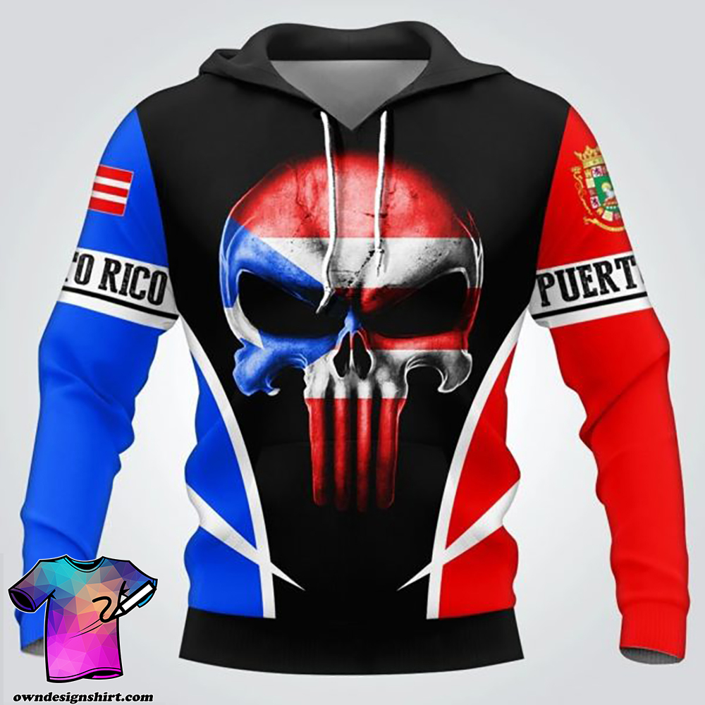 Puerto rico flag skull full over print shirt