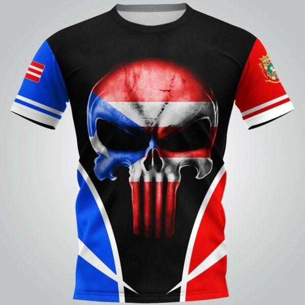 Puerto rico flag skull full over print tshirt