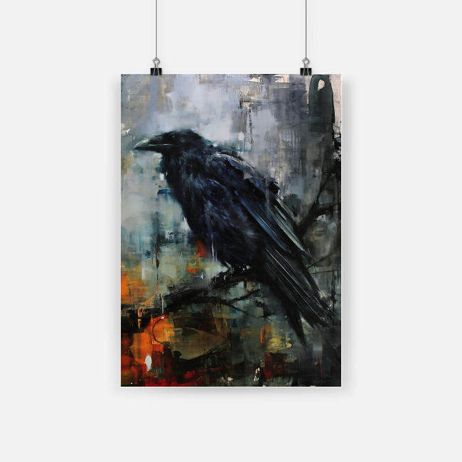 Raven watercolor wall art poster 1