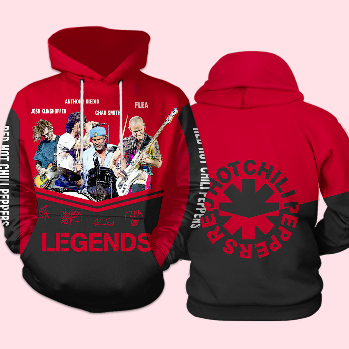 Red hot chili peppers signatures full over print hoodie