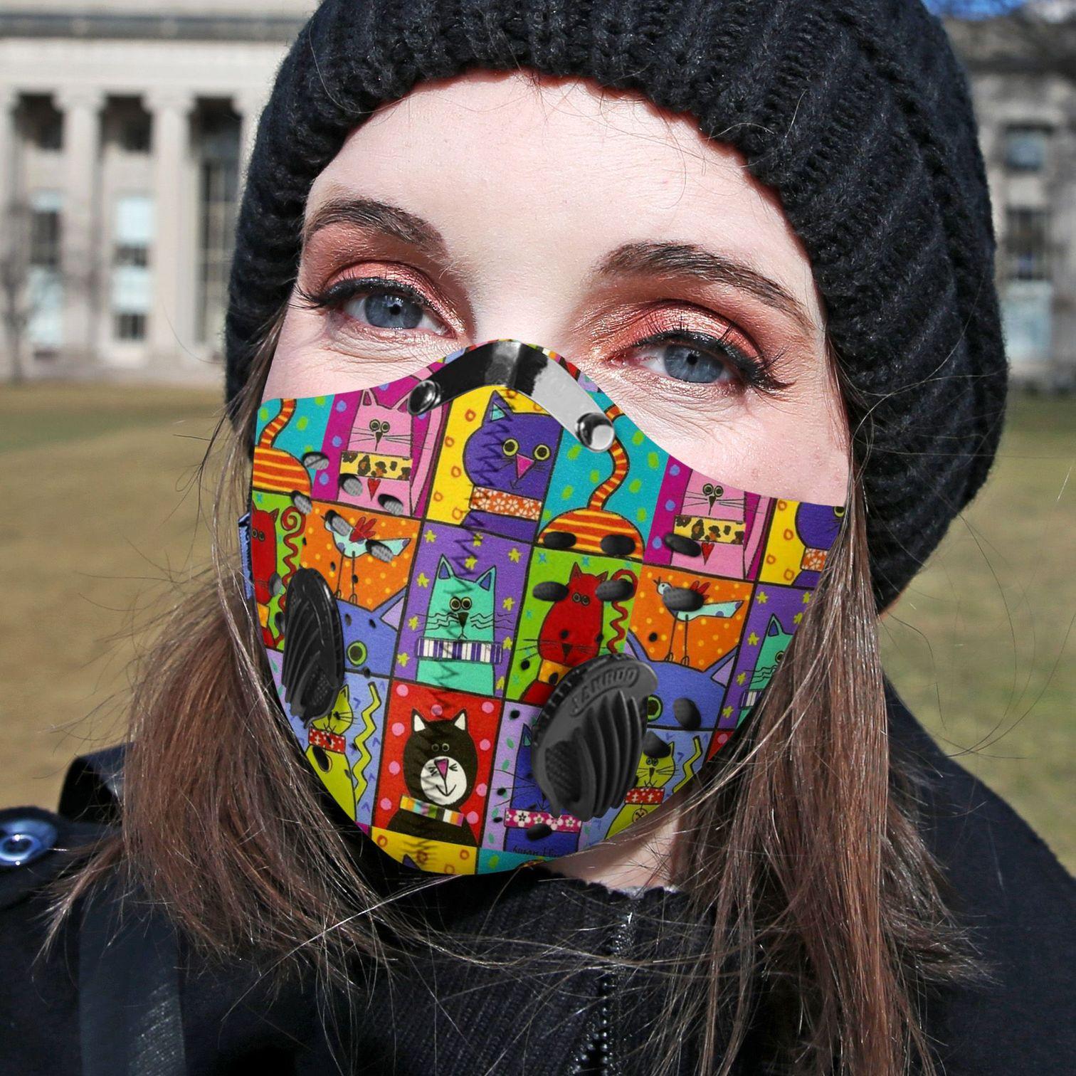 Retro cat carbon pm 2,5 face mask 1