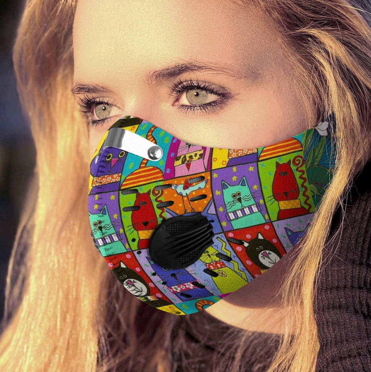 Retro cat carbon pm 2,5 face mask 4