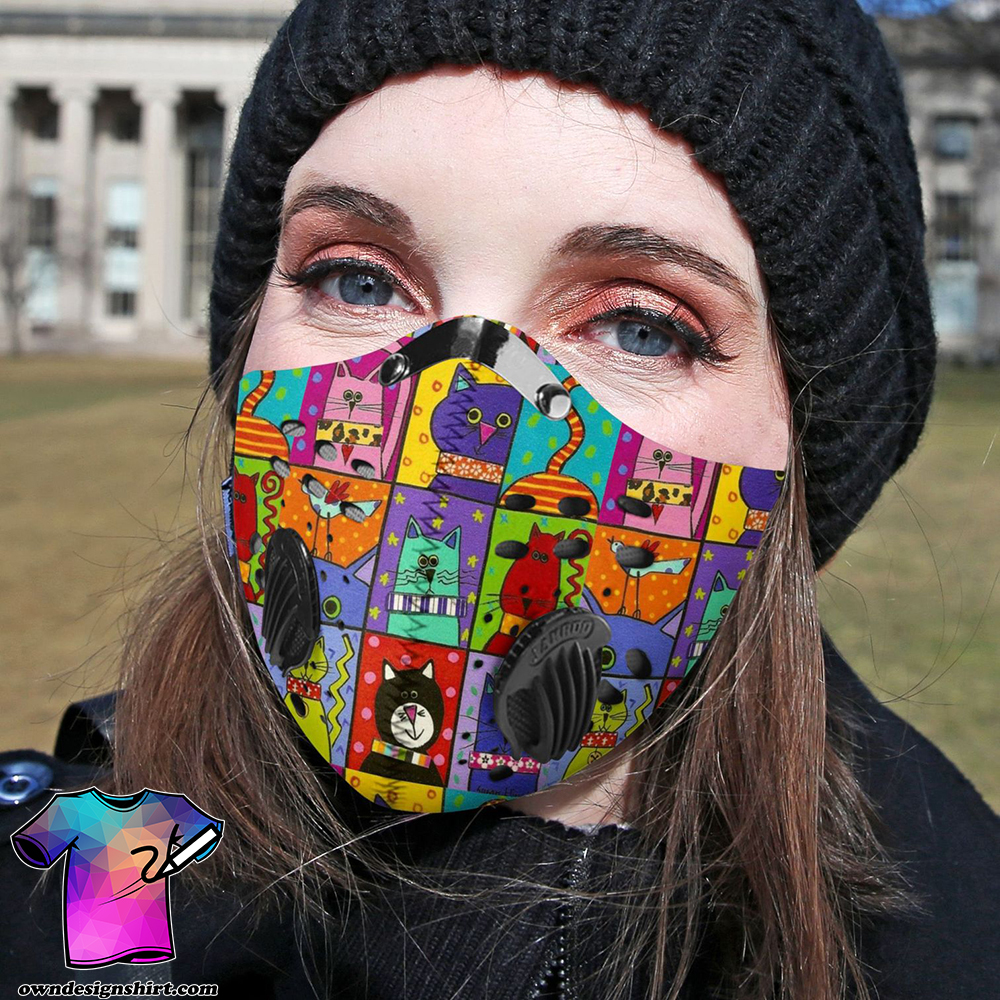 Retro cat carbon pm 2,5 face mask
