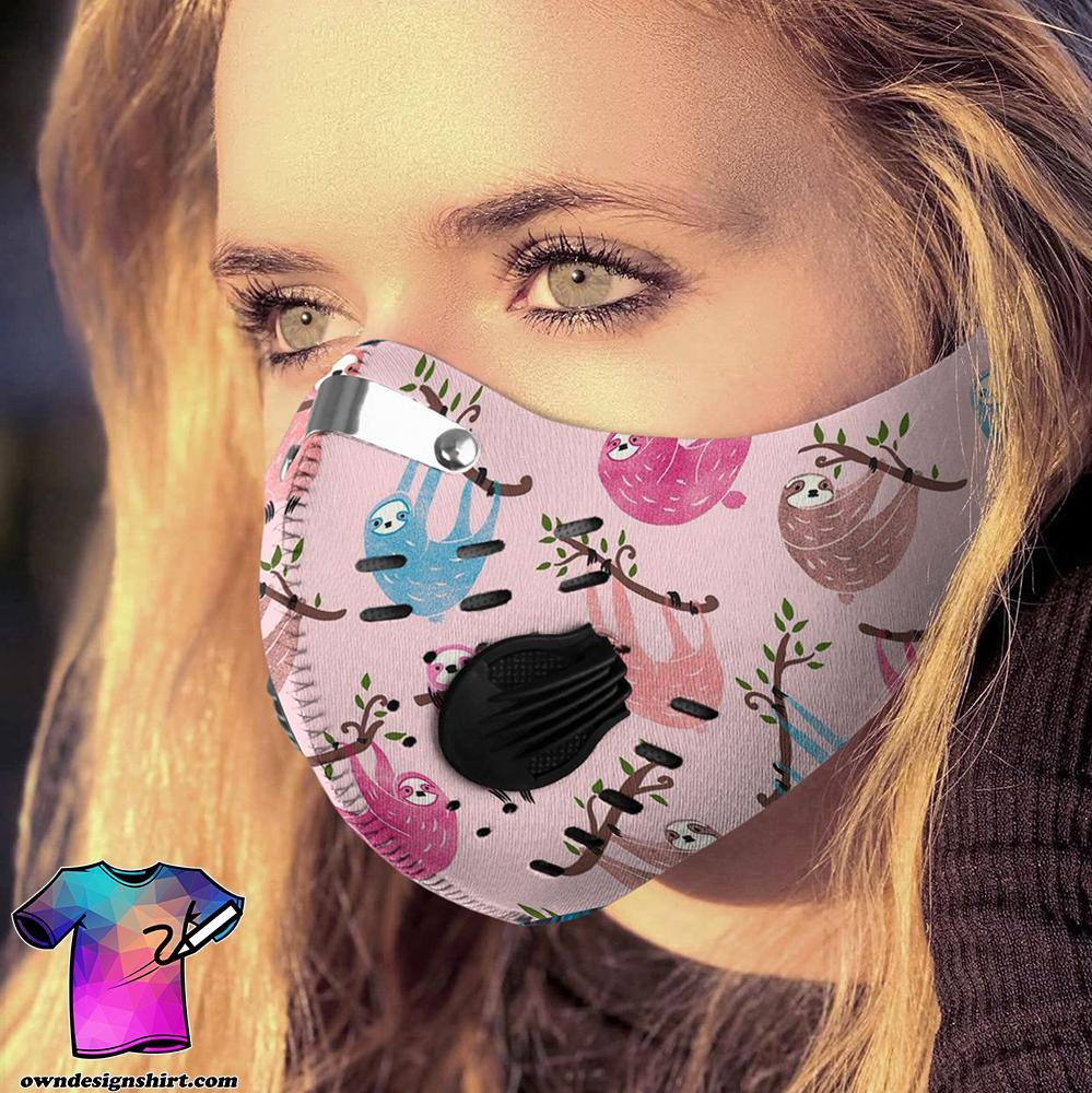 Retro sloth carbon pm 2,5 face mask