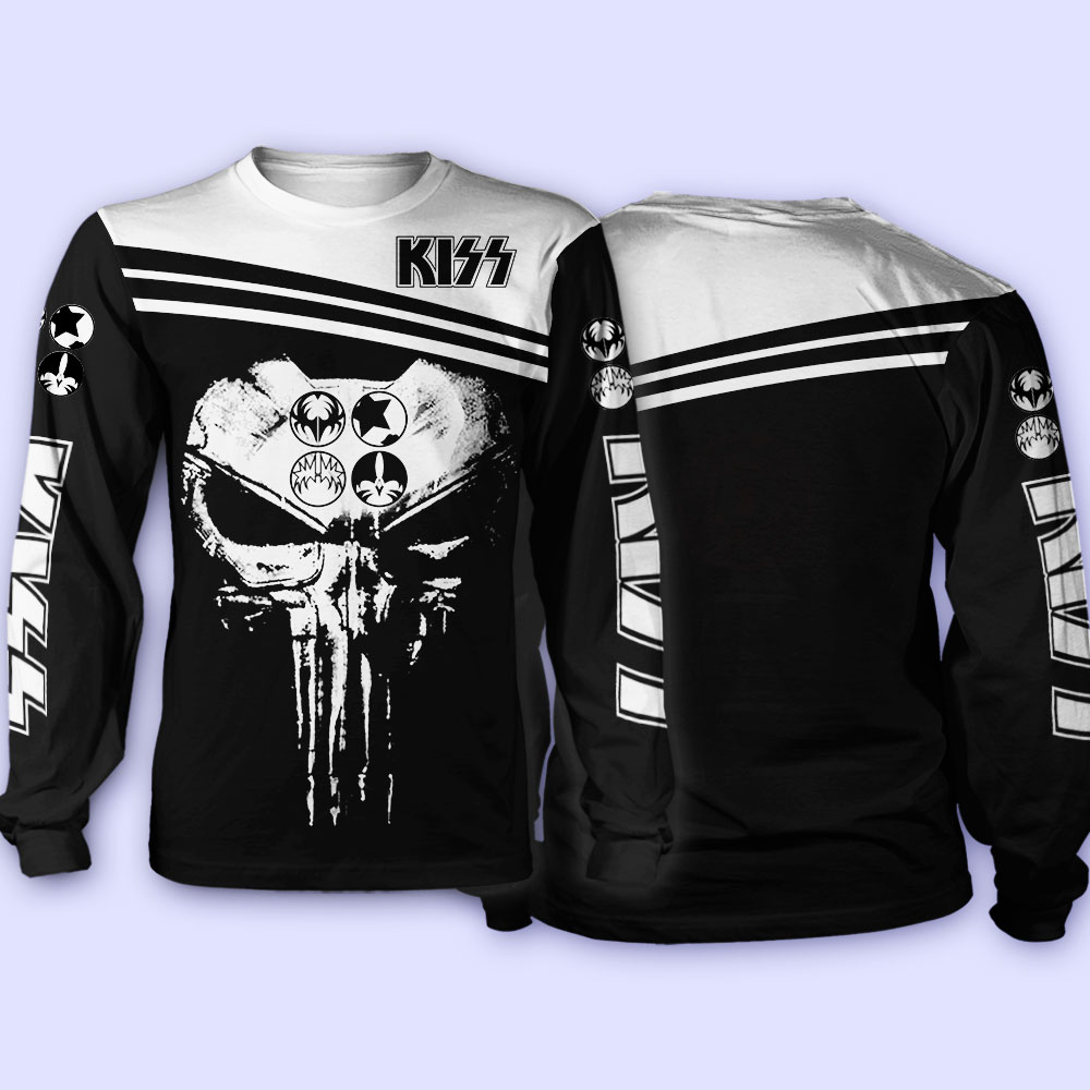 Rock band kiss skull full over printed sweatshirt