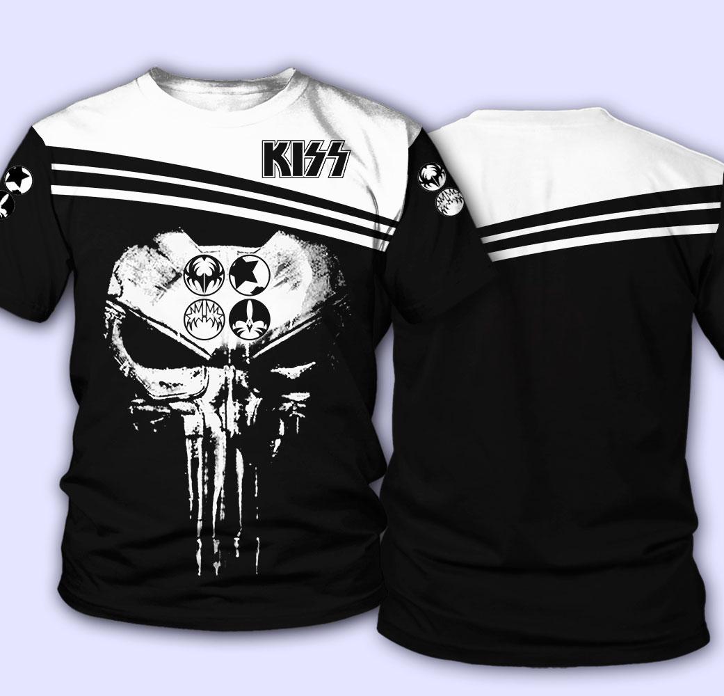 Rock band kiss skull full over printed tshirt