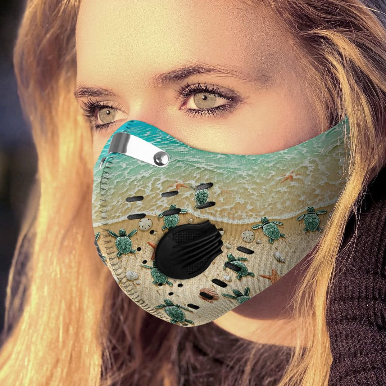 Save sea turtle carbon pm 2,5 face mask 1