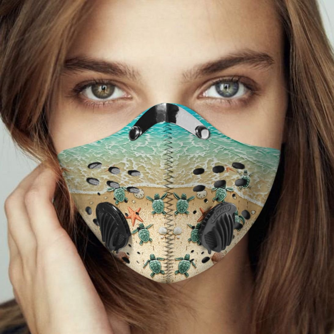 Save sea turtle carbon pm 2,5 face mask 2