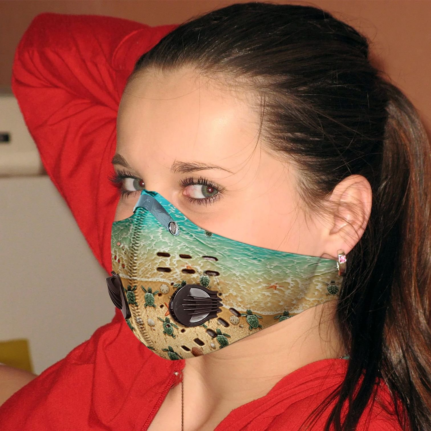 Save sea turtle carbon pm 2,5 face mask 4