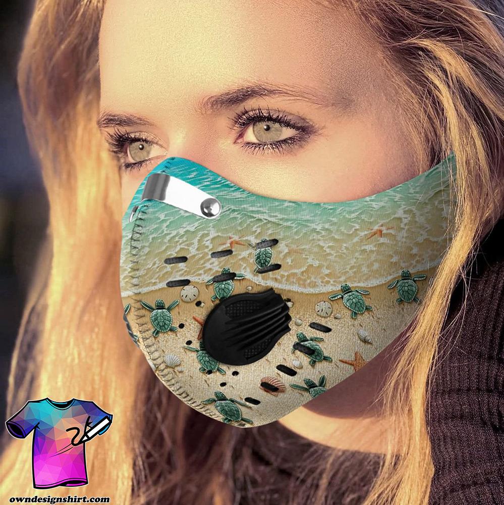 Save sea turtle carbon pm 2,5 face mask