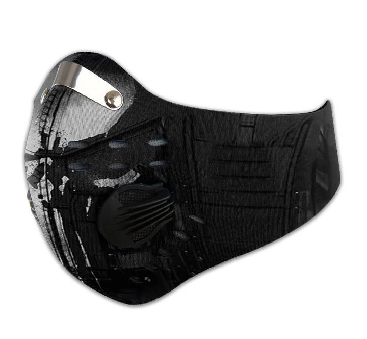 Silver skull filter activated carbon face mask 2