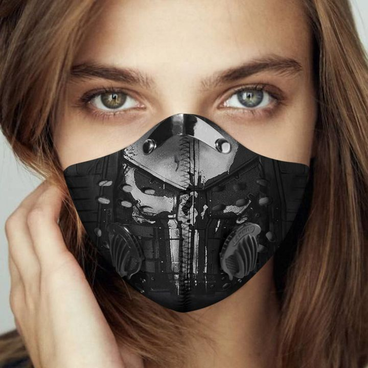 Silver skull filter activated carbon face mask 1