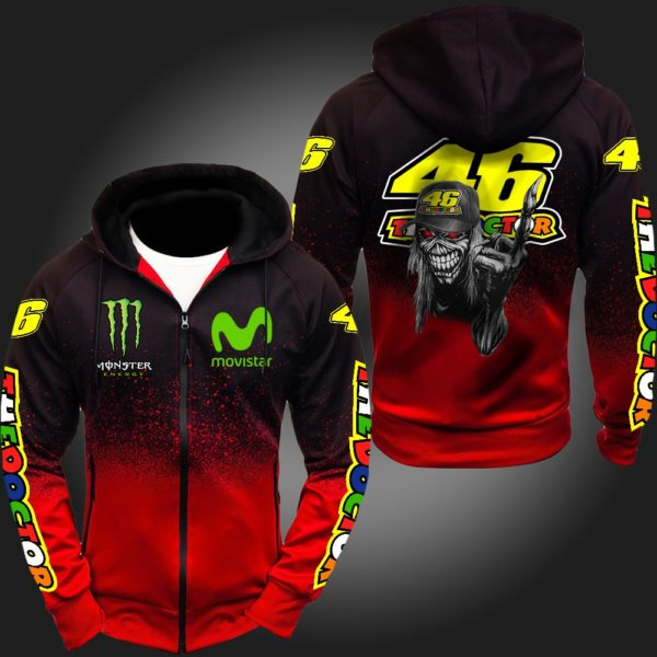 Skull 46 the doctor movistar monster energy all over print zip hoodie