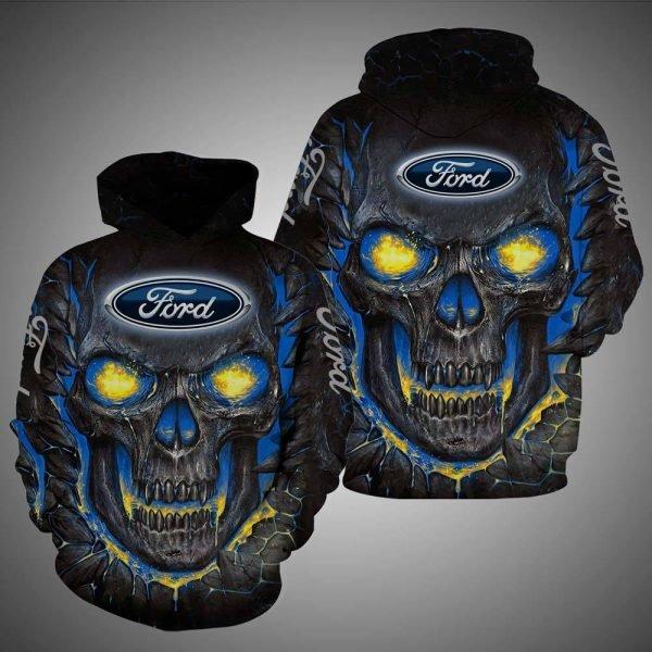 Skull ford logo full over printed hoodie
