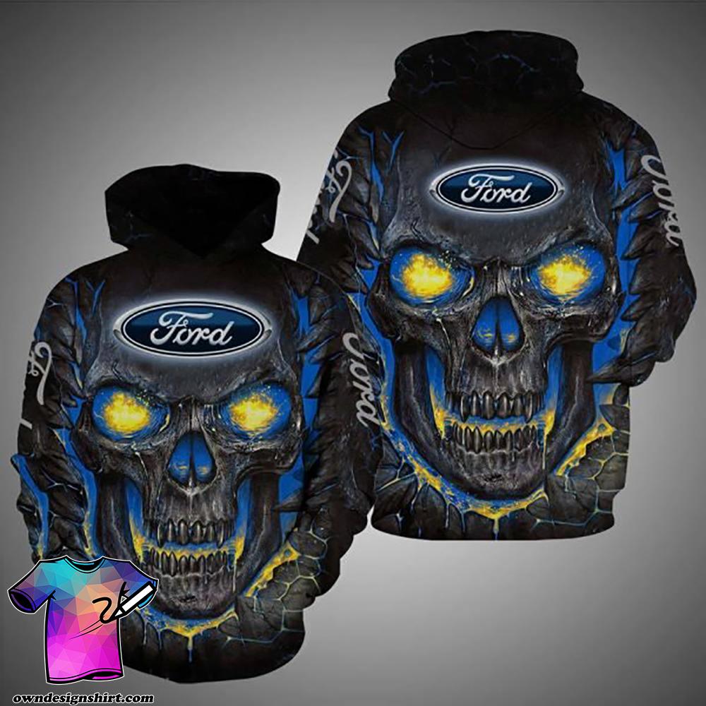 Skull ford logo full over printed shirt