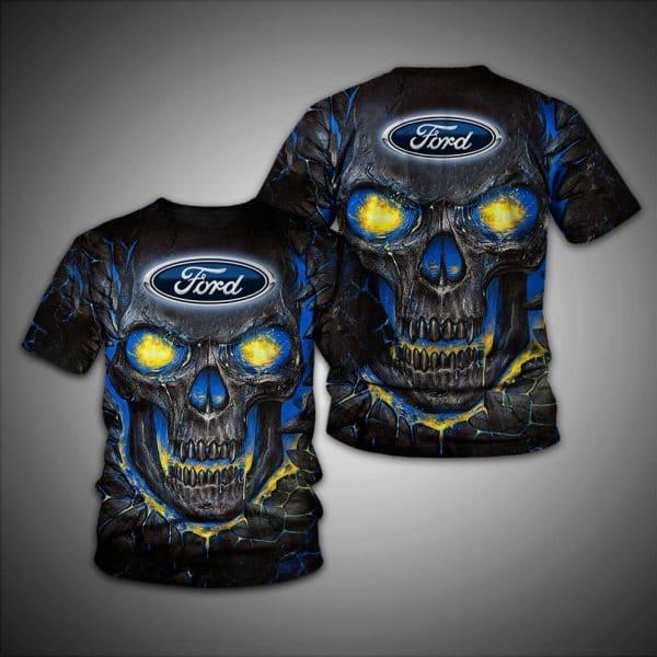 Skull ford logo full over printed tshirt