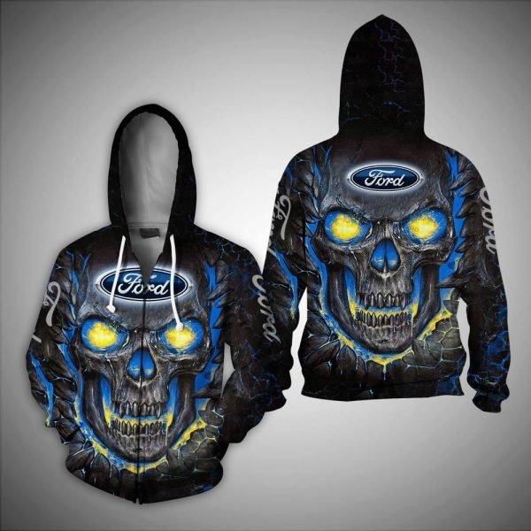 Skull ford logo full over printed zip hoodie