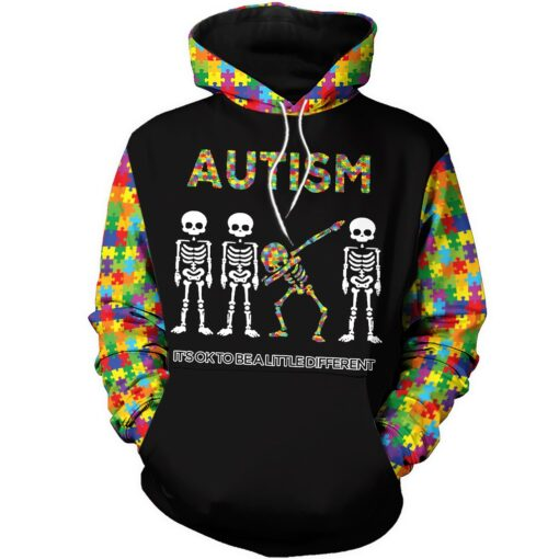 Skull it's ok to be a little different autism awareness full over print hoodie