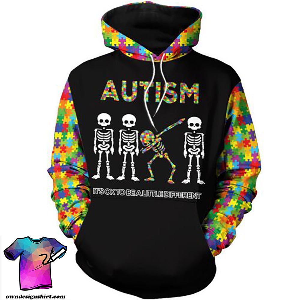 Skull it's ok to be a little different autism awareness full over print shirt