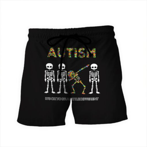 Skull it's ok to be a little different autism awareness full over print shorts